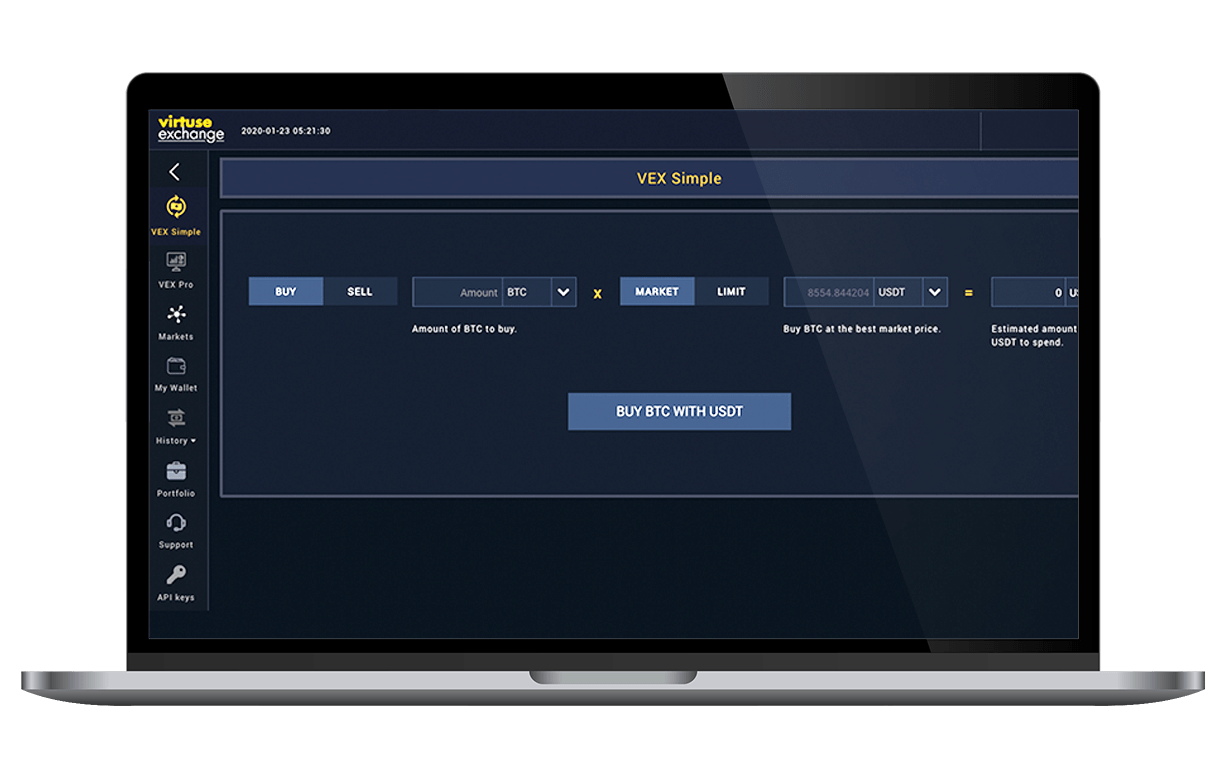 Start trading with VEx Simple